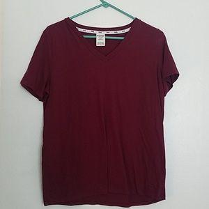 PINK Victoria's Secret maroon v-neck t-shirt